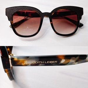 NEW Judith Leiber Leather Tortoiseshell Sunglasses